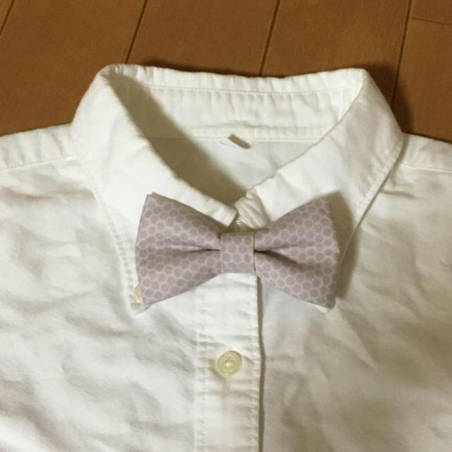 再販*蝶ネクタイ スモーキーピンク ハニカム ハンドメイドのファッション小物(その他)の商品写真