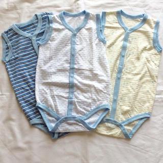 ニシマツヤ(西松屋)の☆新品☆ロンパース 袖なし サイズ80 3枚セット(肌着/下着)