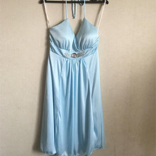 ディズニー(Disney)の水色 ホルターネック ドレス ワンピース ビジュー付き(その他ドレス)