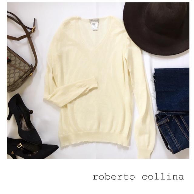 ROBERTO COLLINA(ロベルトコリーナ)のロベルトコリーナ Vネック サマーニット カットソー レディースのトップス(ニット/セーター)の商品写真