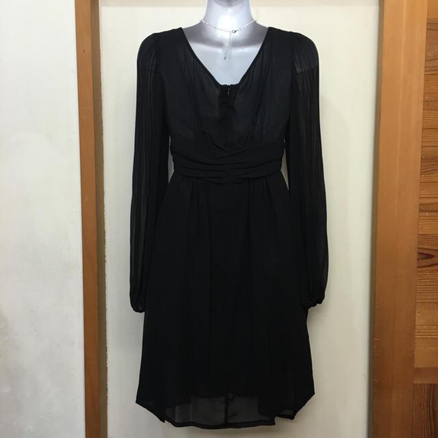 新品!プリーツ袖ありミニドレス ブラック レディースのフォーマル/ドレス(ミディアムドレス)の商品写真