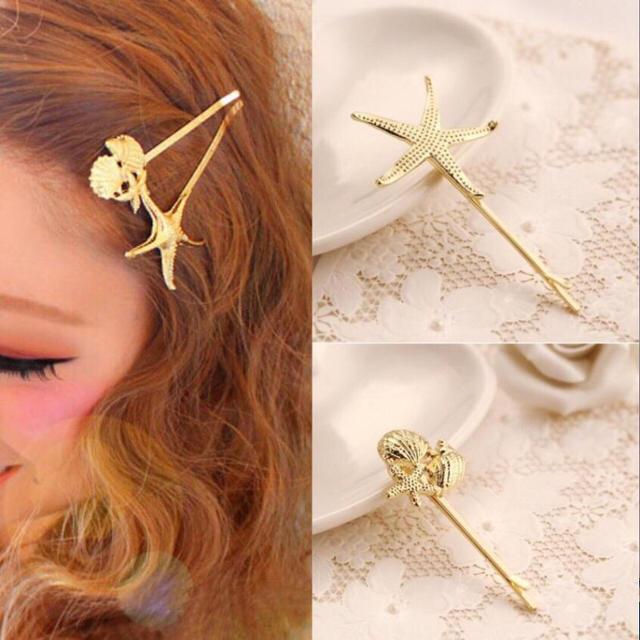 即日発送【新品】ひとで シェル 合計2本 ゴールドヘアピン  レディースのヘアアクセサリー(ヘアピン)の商品写真