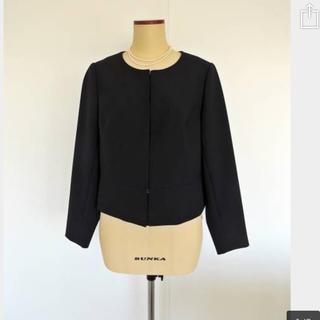 ローズティアラ(Rose Tiara)の新品★ローズティアラ★大きなサイズ42★ノーカラージャケット・黒(ノーカラージャケット)