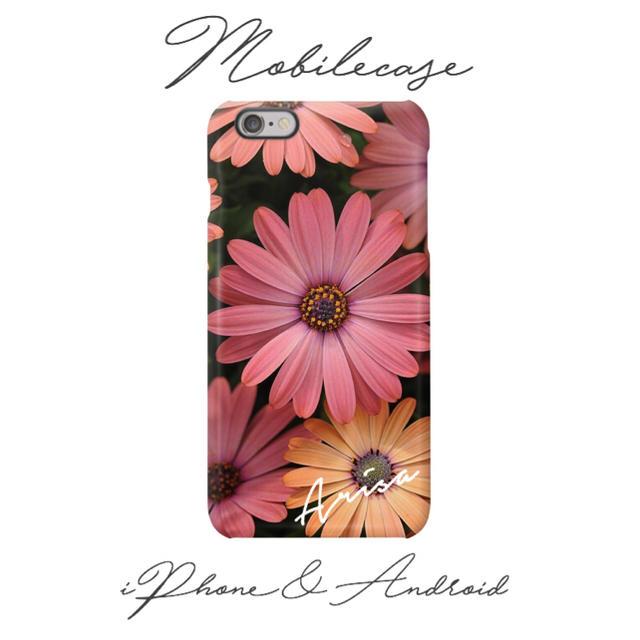 iphone7 ケース 人気 手帳型 | 名入れ可能♡ピンクオレンジフラワー柄スマホケース♡iPhone以外も対応機種多数の通販 by welina mahalo|ラクマ