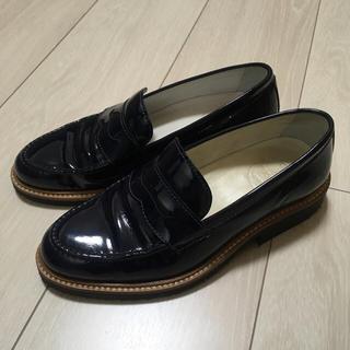 ネイビー エナメルレザーローファー (ローファー/革靴)