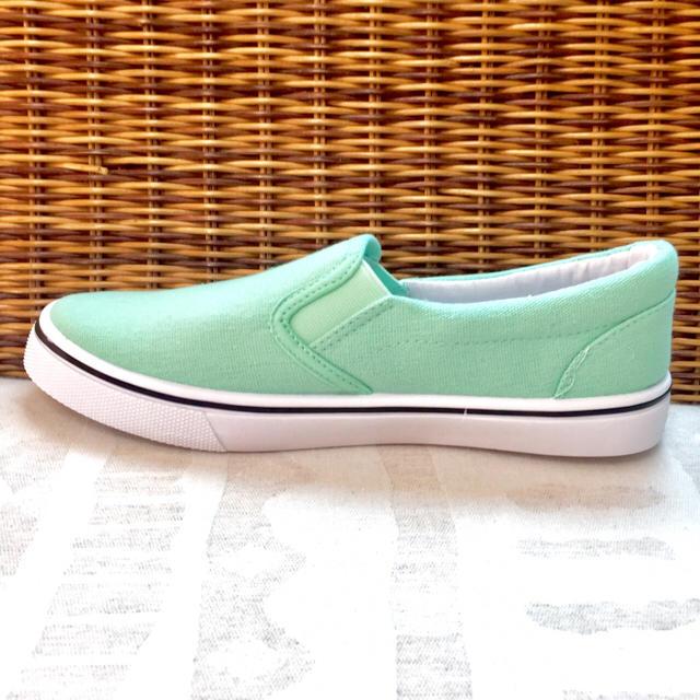 【新品未使用】2017 新作 スリッポン ミルキー パステル カラー グリーン レディースの靴/シューズ(スニーカー)の商品写真