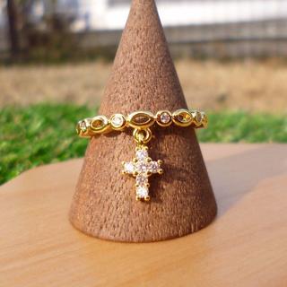 クロスリング 十字架 指輪 18KGP キュービックジルコニア シルバー925(リング(指輪))