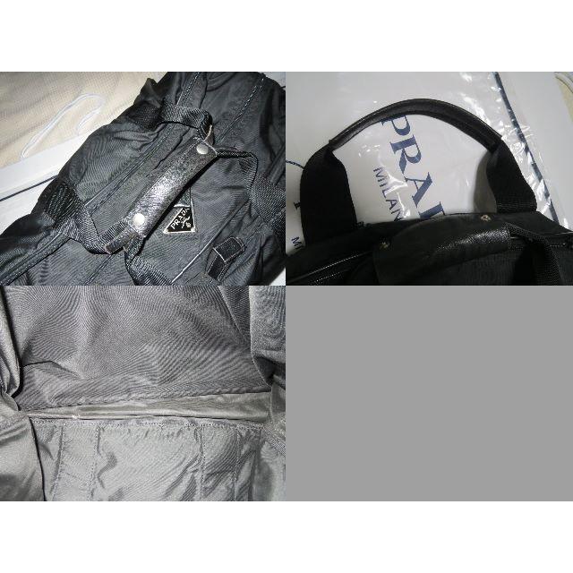 5e9f0fbba3da PRADA - ○18万GW旅行プラダ革型押しレザーショルダー付ボストンバッグ黒 ...