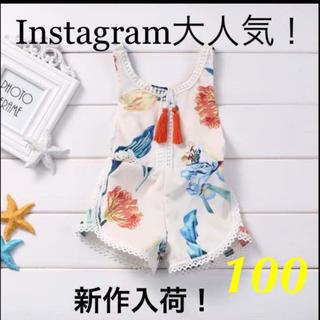 ハッカキッズ(hakka kids)のInstagram大人気!花柄サロペット☆100(ワンピース)