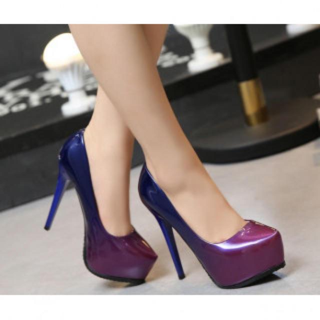 【新作】ハイヒール パンプス 高級感 パープル レディースの靴/シューズ(ハイヒール/パンプス)の商品写真