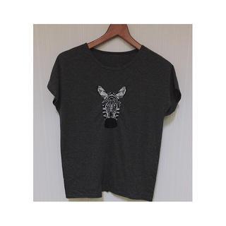 グリモワール(Grimoire)の◯ シマウマ刺繍T 古着 vintage ◯(Tシャツ(半袖/袖なし))