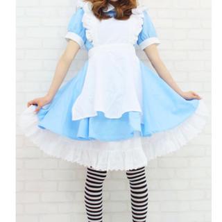 不思議の国のアリス メイド服 ブルー ドレス 4点セット(衣装一式)