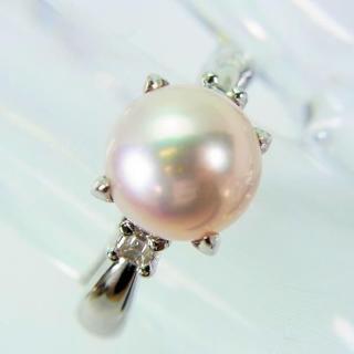 Pt850 あこや本真珠(パール) ダイヤ リング [628-5](リング(指輪))