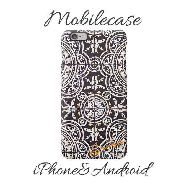 名入れ可能♡モノトーンタイル柄スマホケース♡iPhone以外も対応機種多数あり♡の通販 by welina mahalo|ラクマ