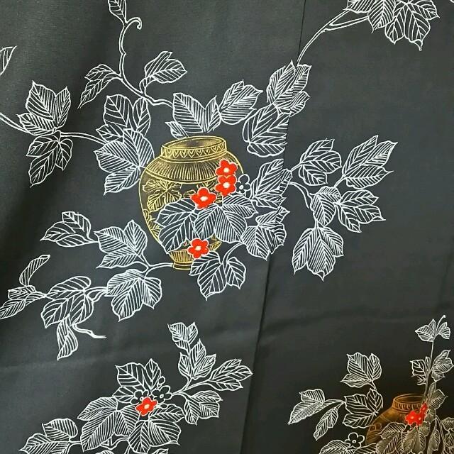 着物★羽織 壺柄 黒 レディースの水着/浴衣(着物)の商品写真