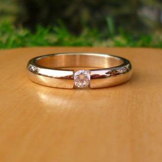 一粒ストーン 指輪 18KGP ピンクゴールド PG ピンキーリング(リング(指輪))
