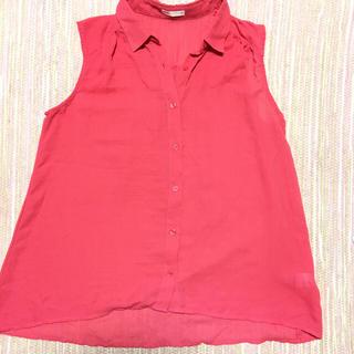 ジーユー(GU)のgu ピンク サラッと着れる涼しいノースリーブシャツ  (シャツ/ブラウス(半袖/袖なし))