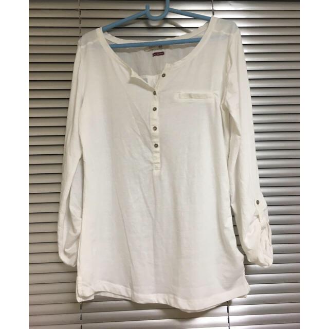 Bershka(ベルシュカ)のベルシュカ ホワイトロングTシャツ レディースのトップス(Tシャツ(長袖/七分))の商品写真