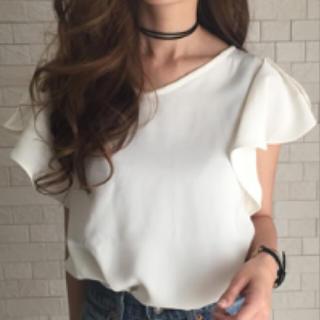 新品♡袖フリルとろみフェミニンブラウス(シャツ/ブラウス(半袖/袖なし))