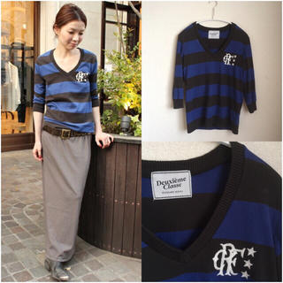 ドゥーズィエムクラス(DEUXIEME CLASSE)の加工ボーダーVネックTシャツ(Tシャツ/カットソー(七分/長袖))