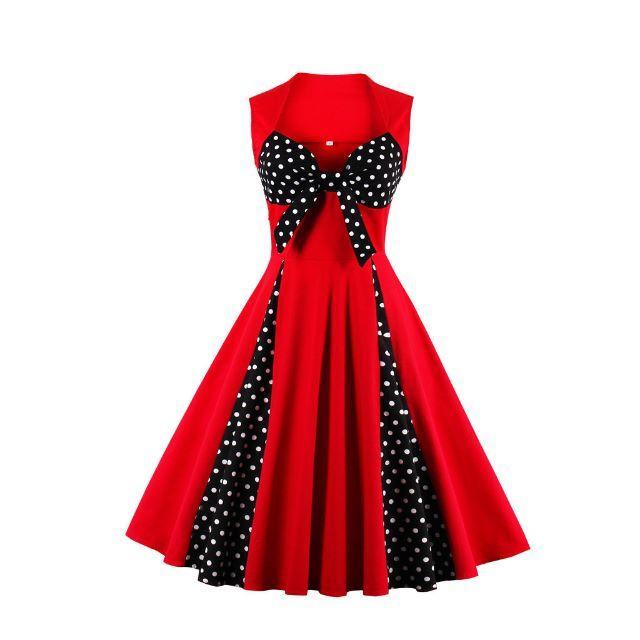 ◆新品未使用 ロカビリー ワンピース 赤 胸元リボン Mサイズ レディースのワンピース(ひざ丈ワンピース)の商品写真