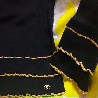 シャネル(CHANEL)のシャネル カットソー 黒×ゴールド 美品 トップス 42(カットソー(長袖/七分))