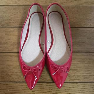 ジーユー(GU)のGU  美品赤ペタンコ靴(バレエシューズ)