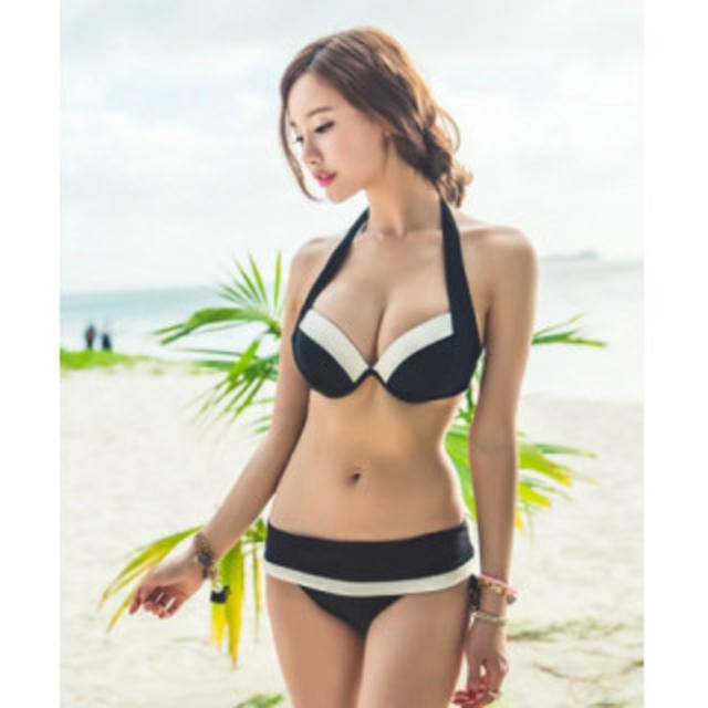 可愛い水着 3点セット ブラック レディースの水着/浴衣(水着)の商品写真