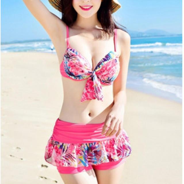 【新作】可愛い水着 3点セット ピンク レディースの水着/浴衣(水着)の商品写真