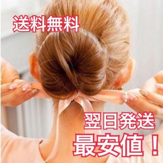 翌日発送【新品】 ♡ ピンクリボン シニヨン ♡ レディースのヘアアクセサリー(ヘアゴム/シュシュ)の商品写真