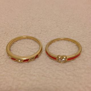 赤×ゴールド指輪2個セット(リング(指輪))