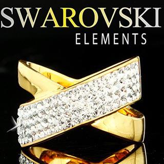 スワロフスキー(SWAROVSKI)の【SWAROVSKI ELEMENTS】 高級 クロスラインリング イエロー(リング(指輪))