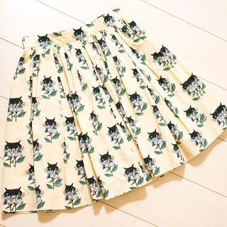 ミュウミュウ(miumiu)の★あゆ様専用 MIUMIU 猫プリント プリーツ スカート サイズ36 ★(ひざ丈スカート)