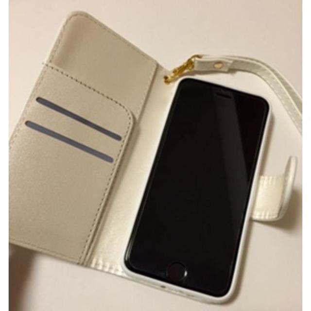 ☆即日発送☆ iPhone7 カメリア柄 手帳型 (白) 送料無料! ハンドメイドのファッション小物(その他)の商品写真