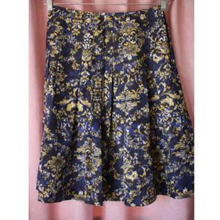 ネイビー×イエローの花柄スカート(ひざ丈スカート)