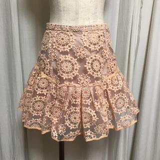 マーキュリーデュオ(MERCURYDUO)のラウンド刺繍オーガンジースカート(ミニスカート)