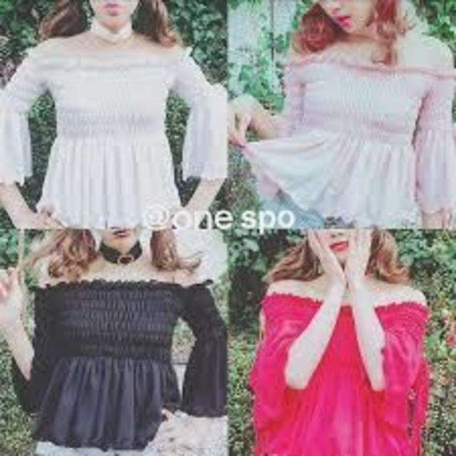 one spo(ワンスポ)のone spo ワンスポ シャーリングリボントップス ホワイト レディースのトップス(Tシャツ(長袖/七分))の商品写真