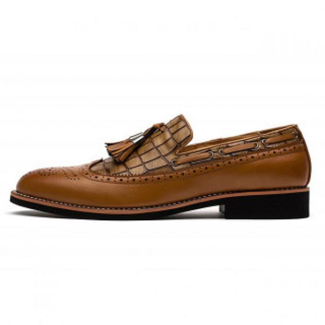 メンズビジネスシューズ PUレザー ブラウン メンズの靴/シューズ(ドレス/ビジネス)の商品写真