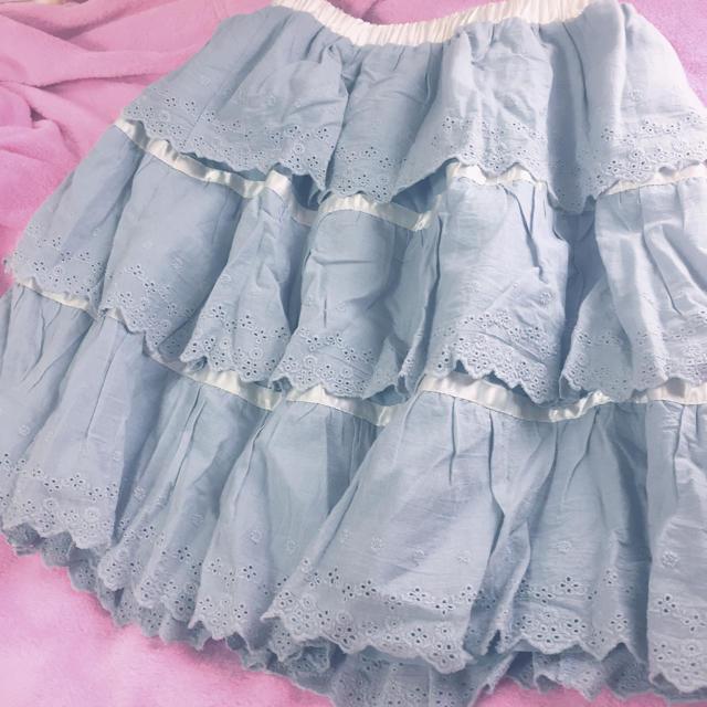 Santa Monica(サンタモニカ)のくすみアイスブルー♡ティアードスカート レディースのスカート(ひざ丈スカート)の商品写真