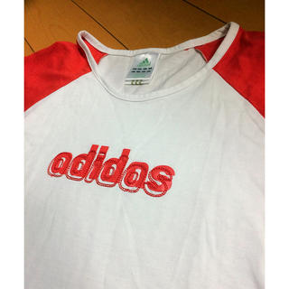 アディダス(adidas)のadidas白✖︎赤ラグランT(Tシャツ(半袖/袖なし))