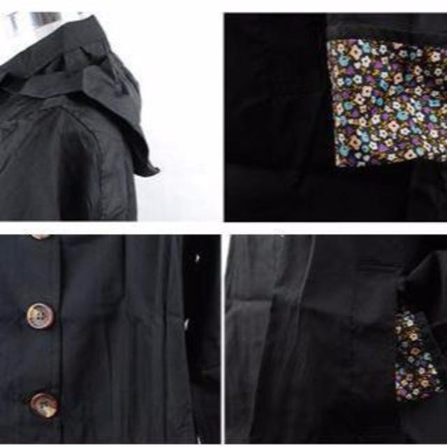 ブラック レインコート 袖口 花柄 フード付き ショート丈 ミニトート レディースのレディース その他(その他)の商品写真