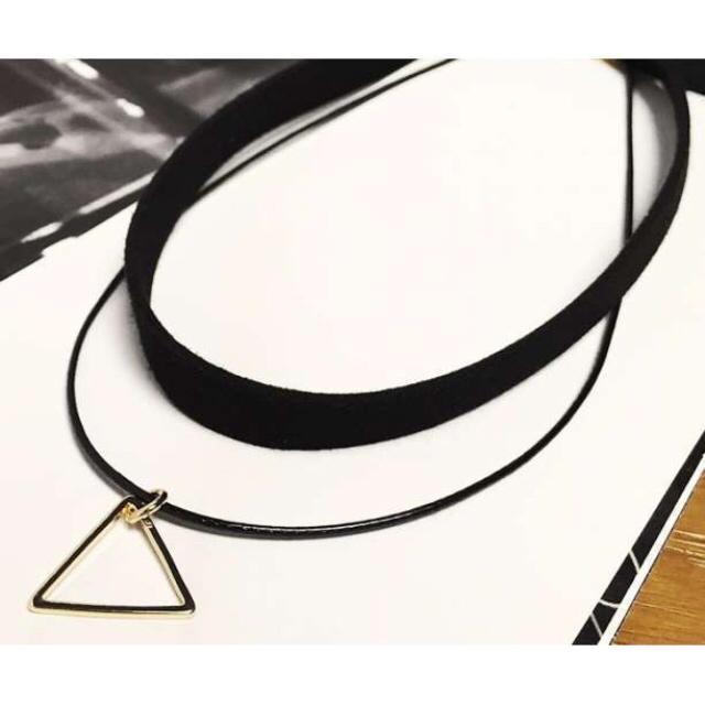 ゴールデンウイーク前の期間限定SALE トライアングル ブラックチョーカー レディースのアクセサリー(ネックレス)の商品写真