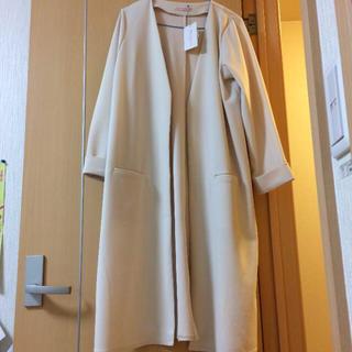シマムラ(しまむら)の新品タグ付き  ノーカラー  ガウンコート  薄手  ロングカーディガン(ガウンコート)