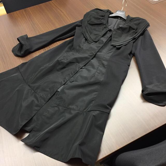FOXEY(フォクシー)のスプリングコート❤️女優襟ブラック❤️FOXEYハンガー付き レディースのジャケット/アウター(スプリングコート)の商品写真