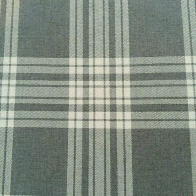 No.90グレー地白ラインチェック生地 布 ハンドメイドの素材/材料(生地/糸)の商品写真