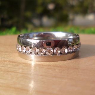 キラキララインストーン シルバー ステンレスリング 指輪(リング(指輪))