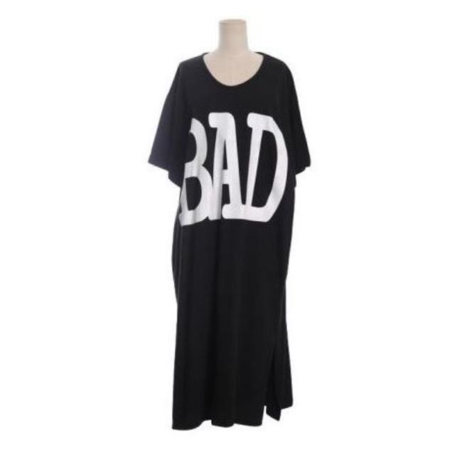 新品☆でかでか【BAD】ロゴ♪ゆったりワンピース ブラック レディースのワンピース(ロングワンピース/マキシワンピース)の商品写真