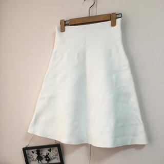 デミルクスビームス(Demi-Luxe BEAMS)のビーミングビームス♡しっかり生地 フレアスカート♡ホワイト (ひざ丈スカート)