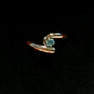 オーダーメイド ブルートパーズ リング ピンキーリング ホワイトゴールド k18(リング(指輪))