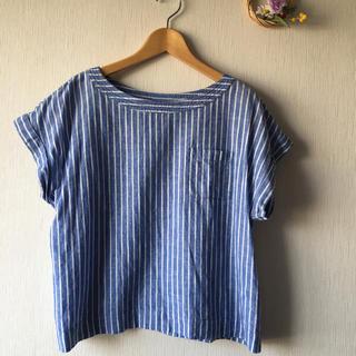 ジーユー(GU)のGU リネンストライプブラウス♡M(シャツ/ブラウス(半袖/袖なし))